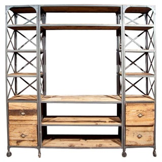 Industrial Wood & Metal Entertainment Center