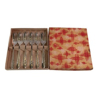 Art Deco Style Dessert Forks in Box - Set of 6