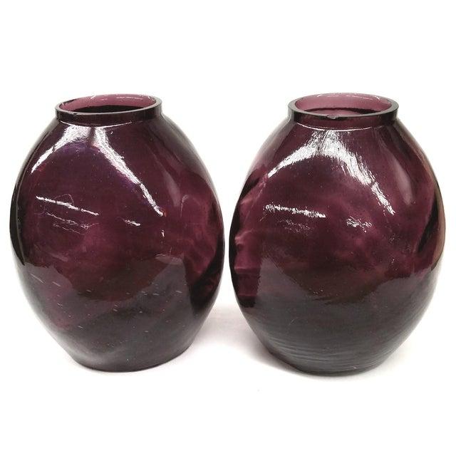 Twin Vintage Amethyst Glass Vases Heather Plum - 2 - Image 10 of 10