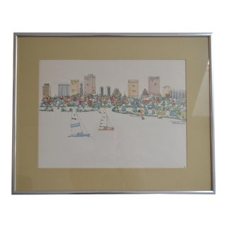 Boston Skyline Watercolor Painting