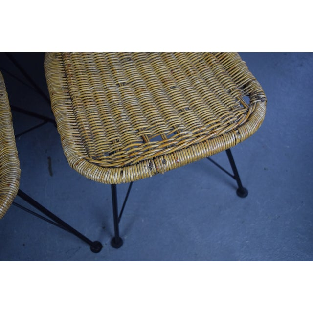 Mid Century Modern Wicker Patio Chairs Set Of 6 Chairish