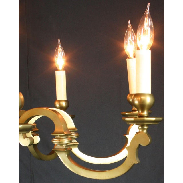 Vintage 1950 French Brass 8-Arm Chandelier - Image 7 of 7
