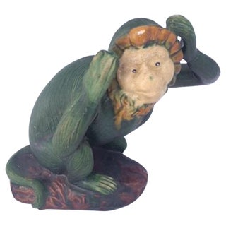 Vintage Green Glaze Ceramic Monkey Figurine