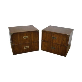 Henredon Walnut Campaign Style 2 Drawer Chests Nightstands - a Pair