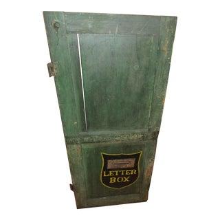 Antique Green Painted Industrial Factory Mail Slot Door