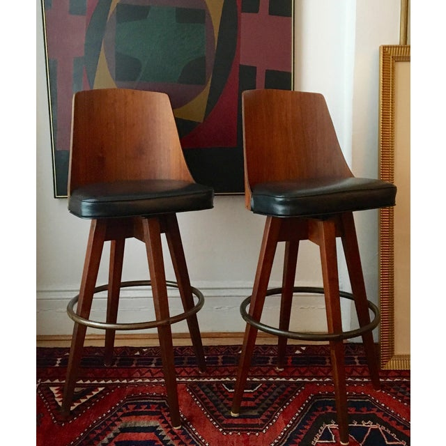Mid-Century Walnut Bentwood, Leather Swivel Barstools - A Pair - Image 4 of 5