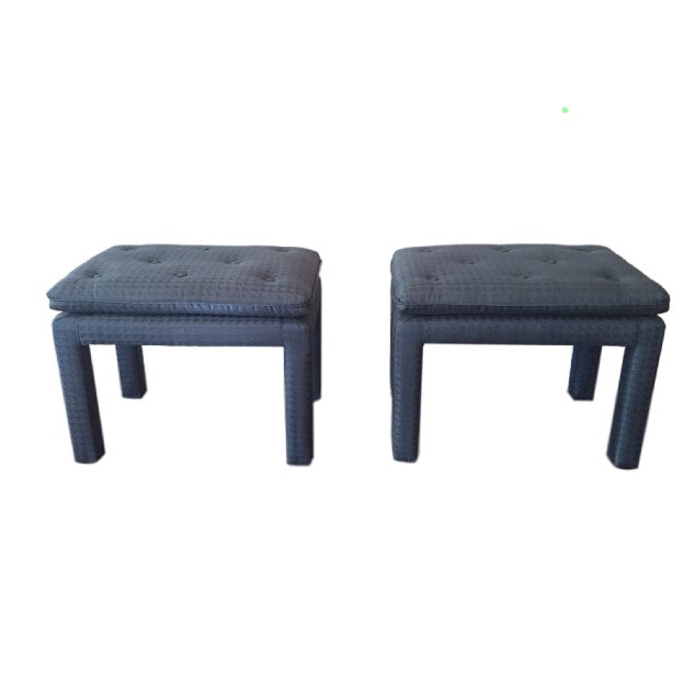 Blue Parsons Ottomans - A Pair - Image 1 of 4