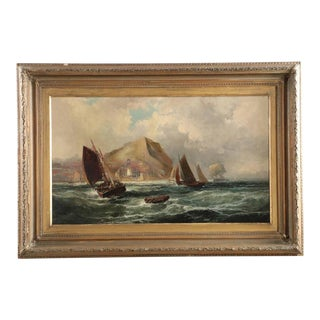 Coastal Harbor Scene with Sailboats and Lighthouse Painting by Robert Ernest Roe