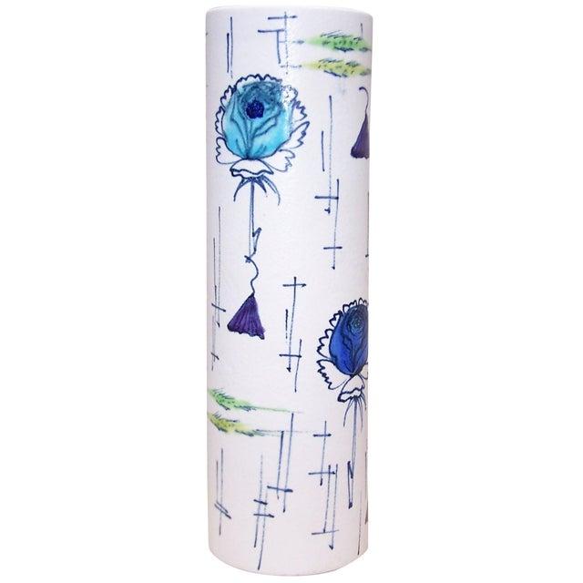 Image of 1950s Italian Ceramic Cylindrical Vase