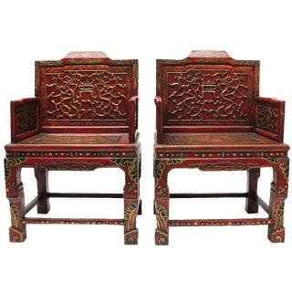 Vintage Tibetan Hand-Painted Chairs - A Pair
