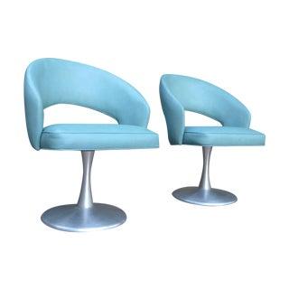 Turquoise Mid-Century Saarinen Style Chairs