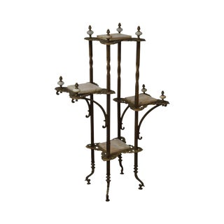 Antique 19th Century Victorian Brass & Onyx Etagere