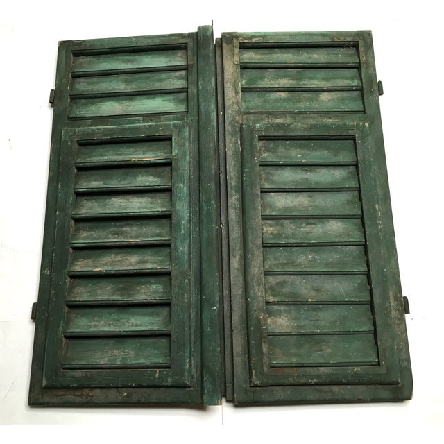 Vintage French Louvered Shutters - A Pair - Image 4 of 9