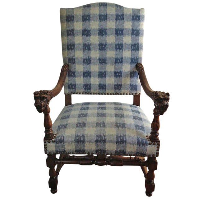 Walnut French Armchair in Brunschwig Fabric - Image 1 of 10