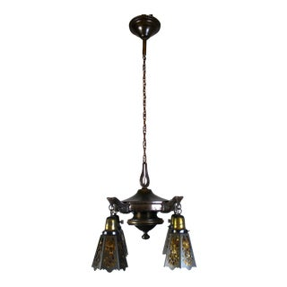 4 Light Pan Fixture with Cut-Out Mica Shades.