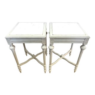 Vintage Marble Top End Tables -- A Pair