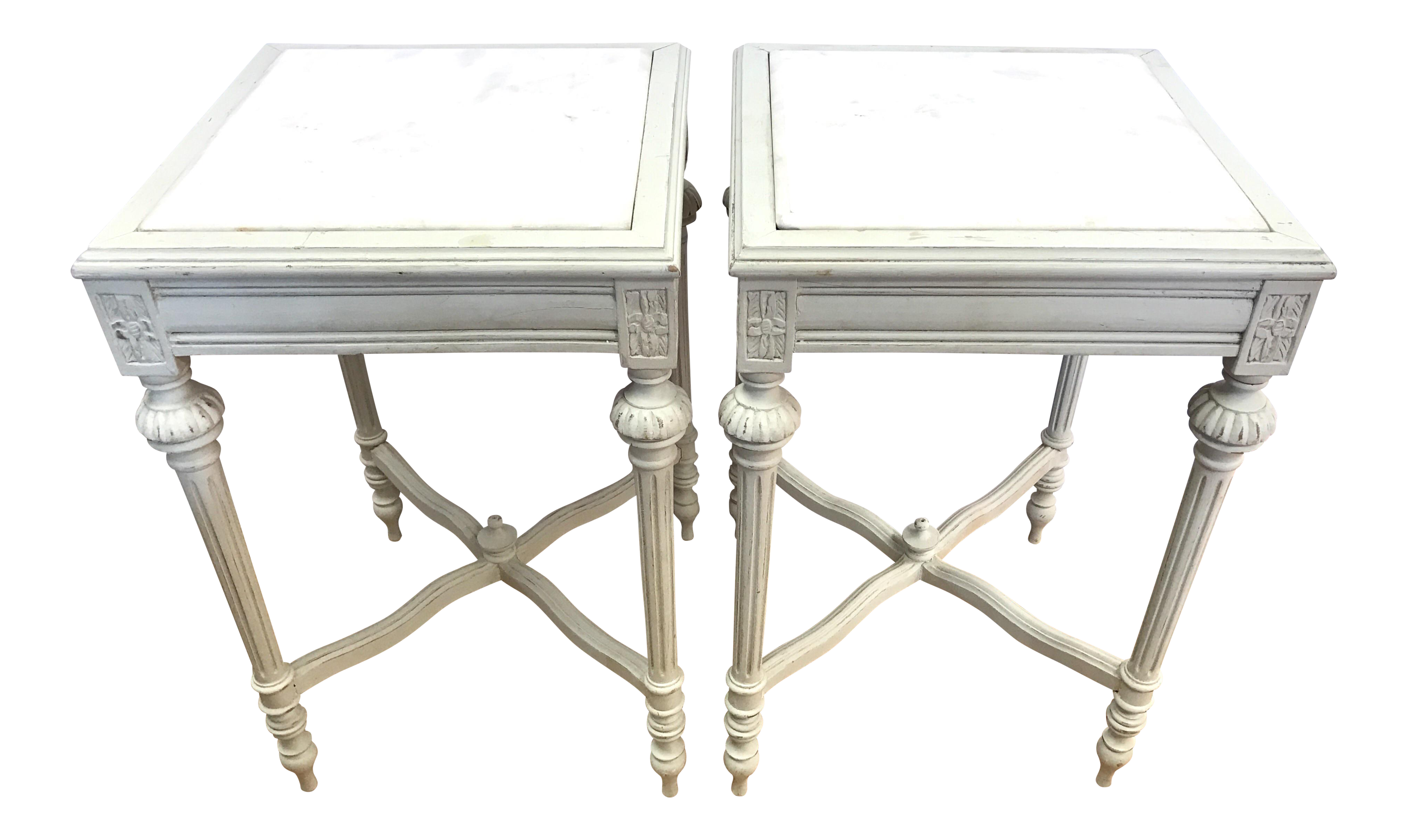 Vintage Marble Top End Tables    A Pair