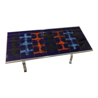 Bold Abstract Painted Ceramic Tile Table