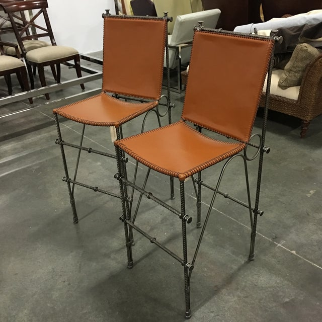 Image of Leather & Rebar Bar Stools - a Pair