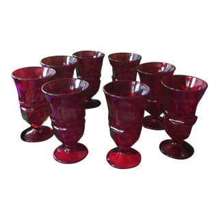 Mid-Century Fostoria Ruby Red Goblets - Set of 8