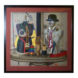Mid-Century Surrealist Lithograph Of Mannequins