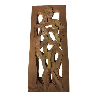Standing Woman Stoneware Plaque