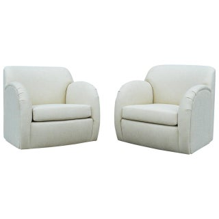 K. Springer Style Swivel Rocking Chairs - Pair