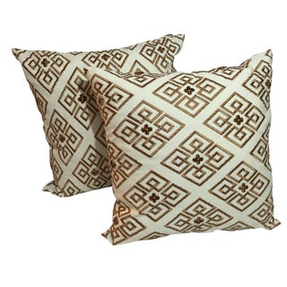 Custom Embroidered Brown Pillows - a Pair