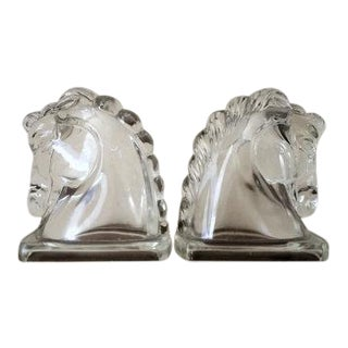 Mid-Century Glass Horse Head Bookends - A Pair