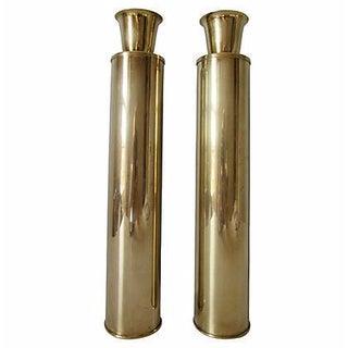 Cylinder Brass Candlesticks - a Pair