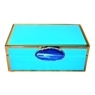Turquoise & Cobalt Geode Trinket Box