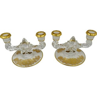 Gilded Glass Candle Holders - Pair