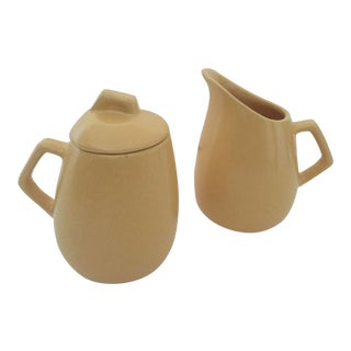 Mid-Century Modern Butter Yellow Ceramic Cream & Sugar Serving Set - A Pair