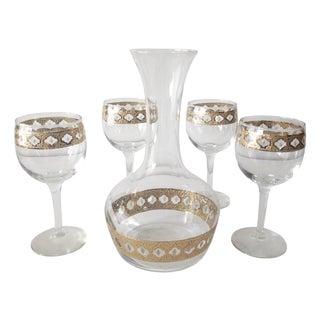 Culver Mid-Century Gilt Wine Carafe & Glasses