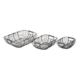 Iron Wire Baskets - Set of 3