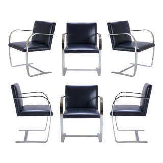 Brno Flat-Bar Chairs in Original Navy Leather - Set of 6