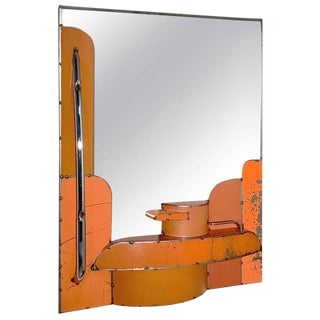 Orange Reclaimed Steel Mirror