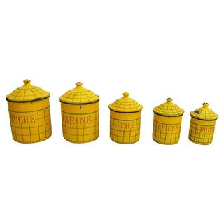 French Enamel Kitchen Canisters - Set of 5