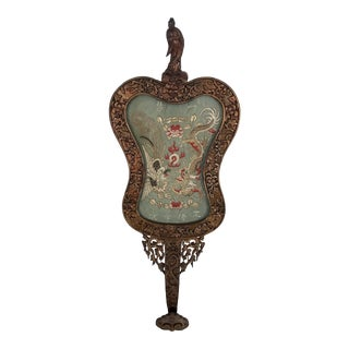 Antique Chinese 'Ruyi' Inset With Embroidered Panel