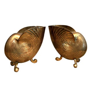 Vintage Brass Nautilus Seashell Planters - A Pair