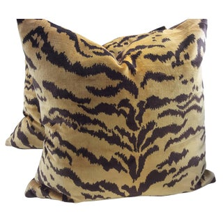 "Scalamandre ""Le Tigre"" Italian Silk Velvet Down Pillows - a Pair"
