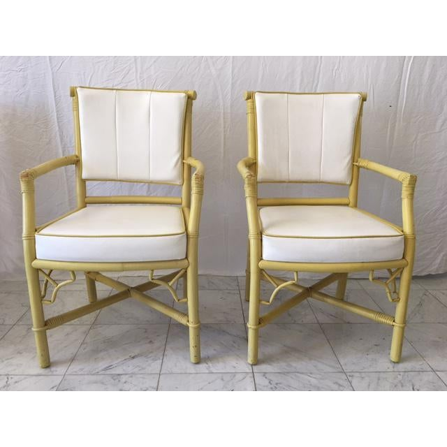 Vintage Daffodil Yellow Rattan Dining Chairs - Set of 6 - Image 3 of 11