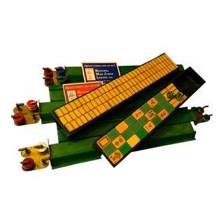 Vintage Bakelite Two Tone Wafer Back Butterscotch & Lime Mahjong Set