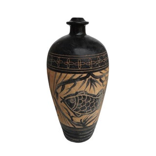 Chinese Ceramic Graphic Flower Fish Vase