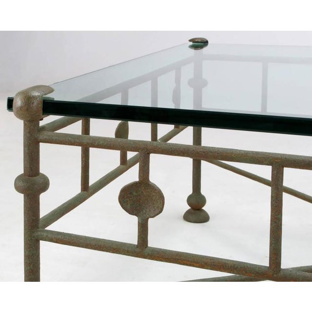 Giacometti-Style Patinated Hand-Wrought Iron and Glass Coffee Table - Image 4 of 6