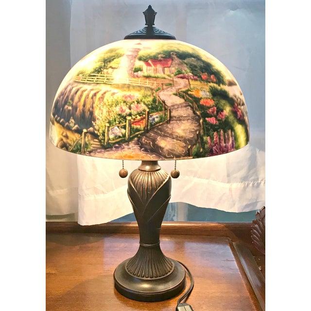 Thomas Kinkade Reverse Painting Table Lamp Chairish