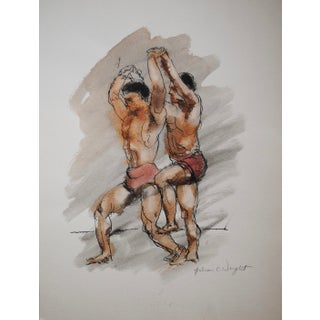Mid-Century Figurative Watercolor by Julian Wright