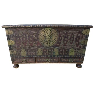Moorish Teak & Brass Studded Trunk