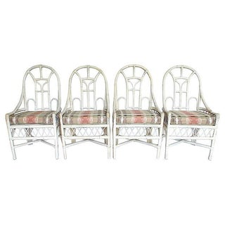 White Rattan Arch Back Chairs - Set of 4