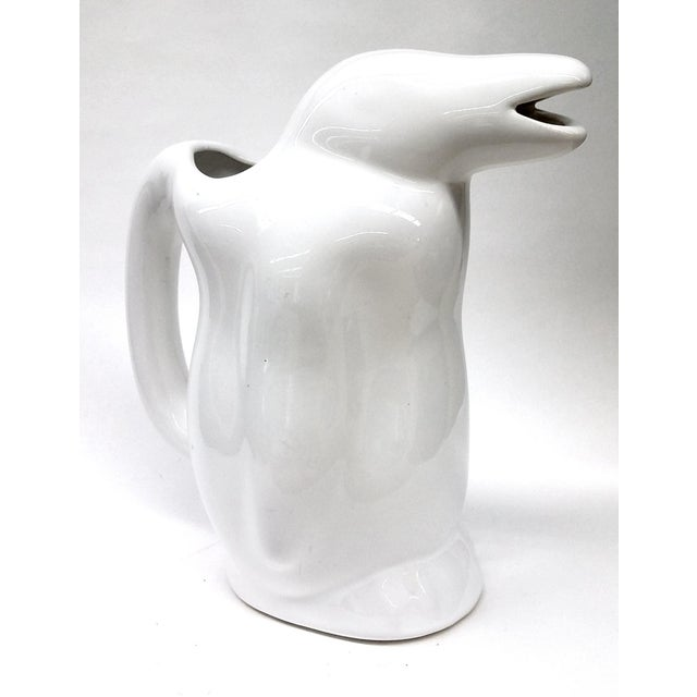 White Penguin Water Pitcher Mid Century Design - Image 2 of 7